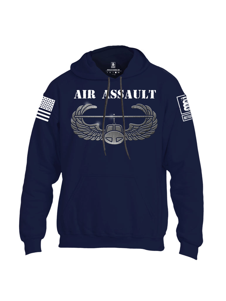 Battleraddle Air Assault White Sleeve Print Mens Blended Hoodie With Pockets