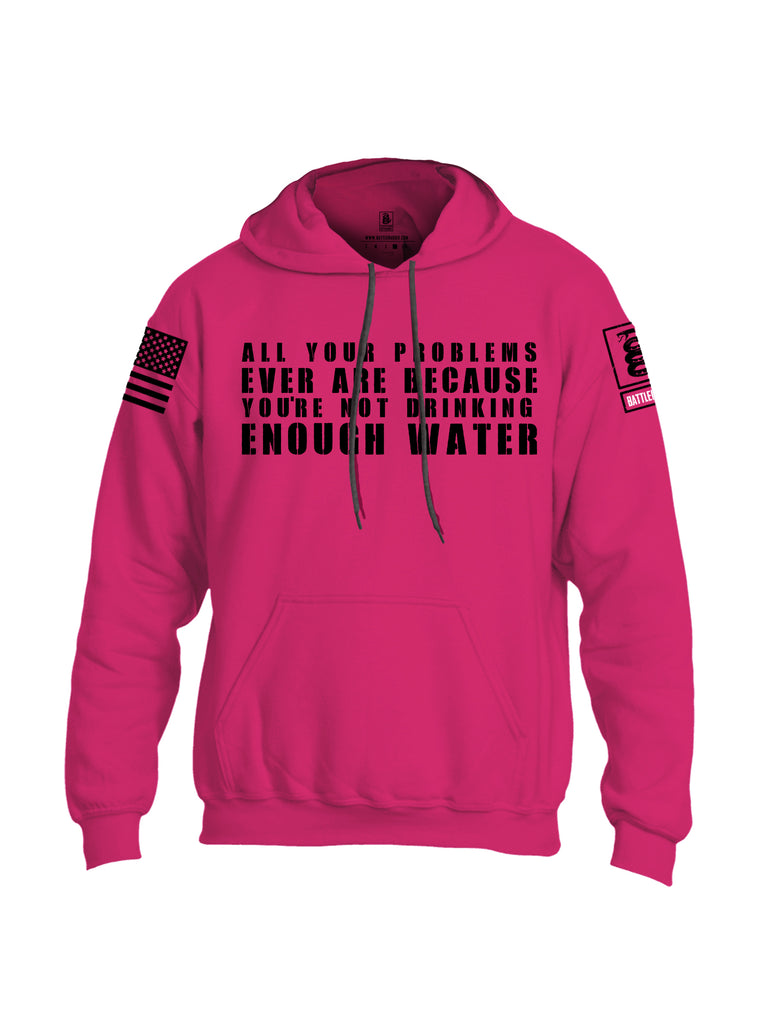 Battleraddle All Problems Ever Are Because You're Not Drinking Enough Water Black Sleeve Print Mens Blended Hoodie With Pockets