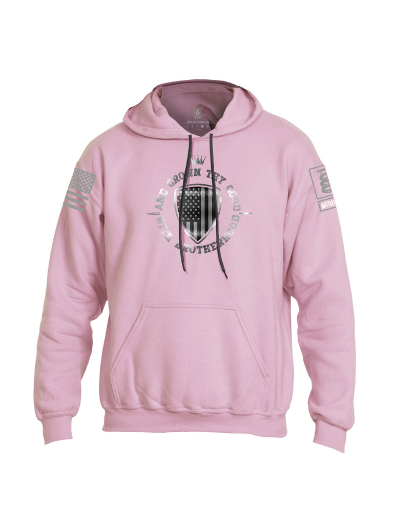 Battleraddle And Crown Thy Good With Brotherhood Grey Sleeve Print Mens Blended Hoodie With Pockets