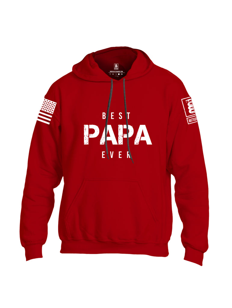 Battleraddle Best PAPA Ever White Sleeve Print Mens Blended Hoodie With Pockets