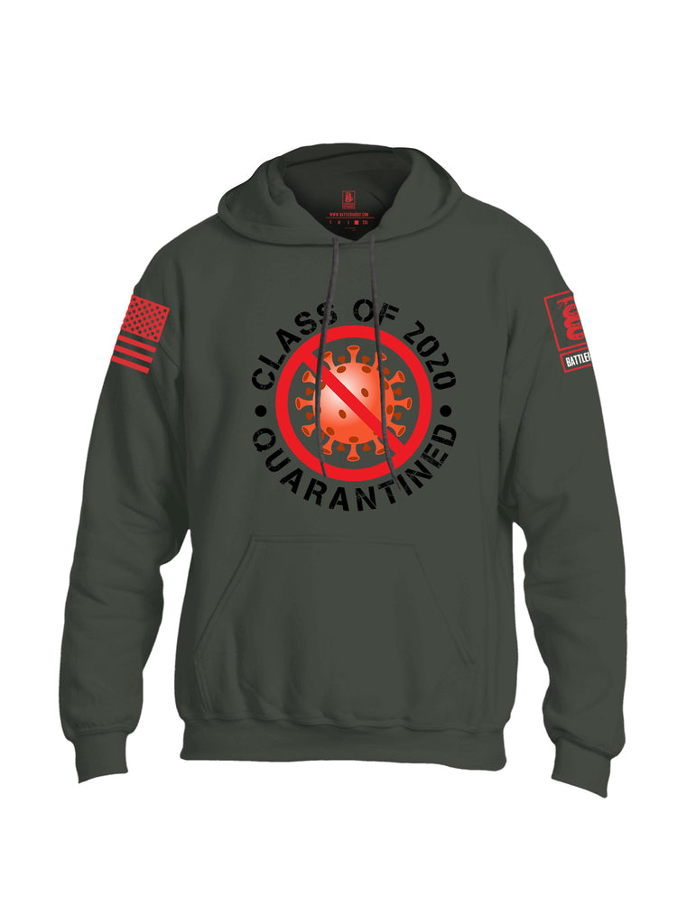 Battleraddle Class Of 2020 Quarantined Red Sleeve Print Mens Blended Hoodie With Pockets