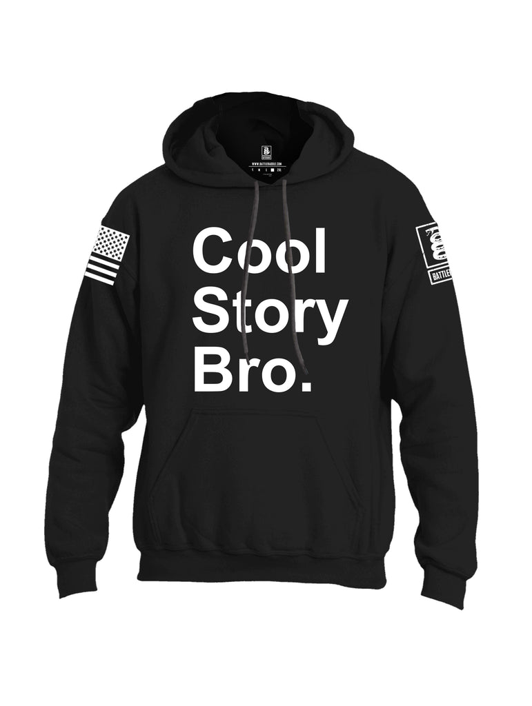 Battleraddle Cool Story Bro White Sleeve Print Mens Blended Hoodie With Pockets