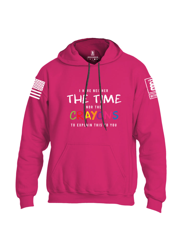 Battleraddle I Have Neither The Time Nor The Crayons To Explain This To You White Sleeve Print Mens Blended Hoodie With Pockets