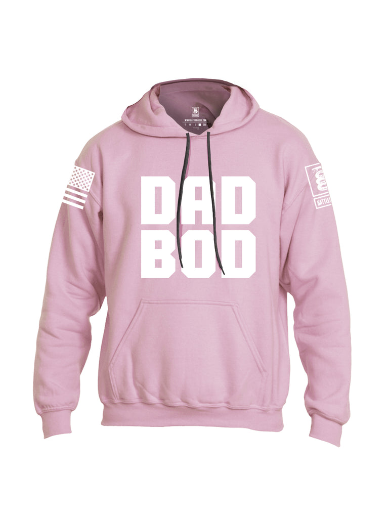 Battleraddle Dad Bod White Sleeve Print Mens Blended Hoodie With Pockets