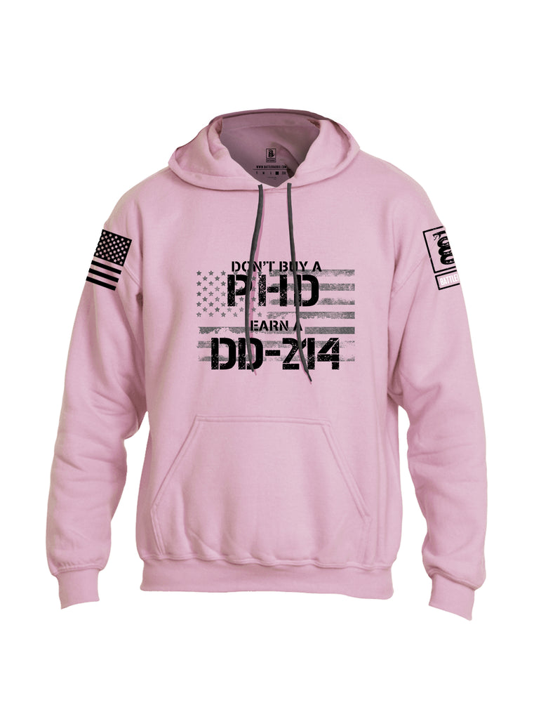 Battleraddle Dont Buy A PHD Earn A DD 214 Black Sleeve Print Mens Blended Hoodie With Pockets