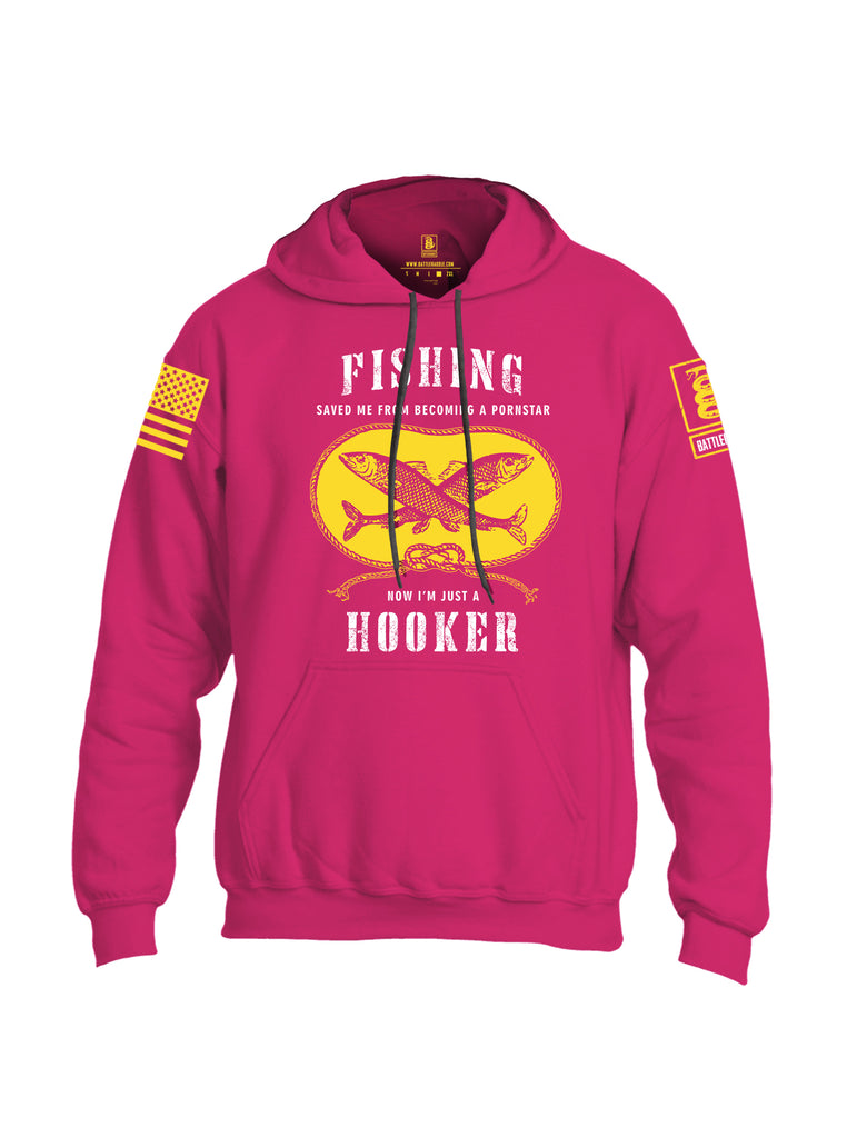 Battleraddle Fishing Saved me from Becoming a Pornstar Yellow Sleeve Print Mens Blended Hoodie With Pockets