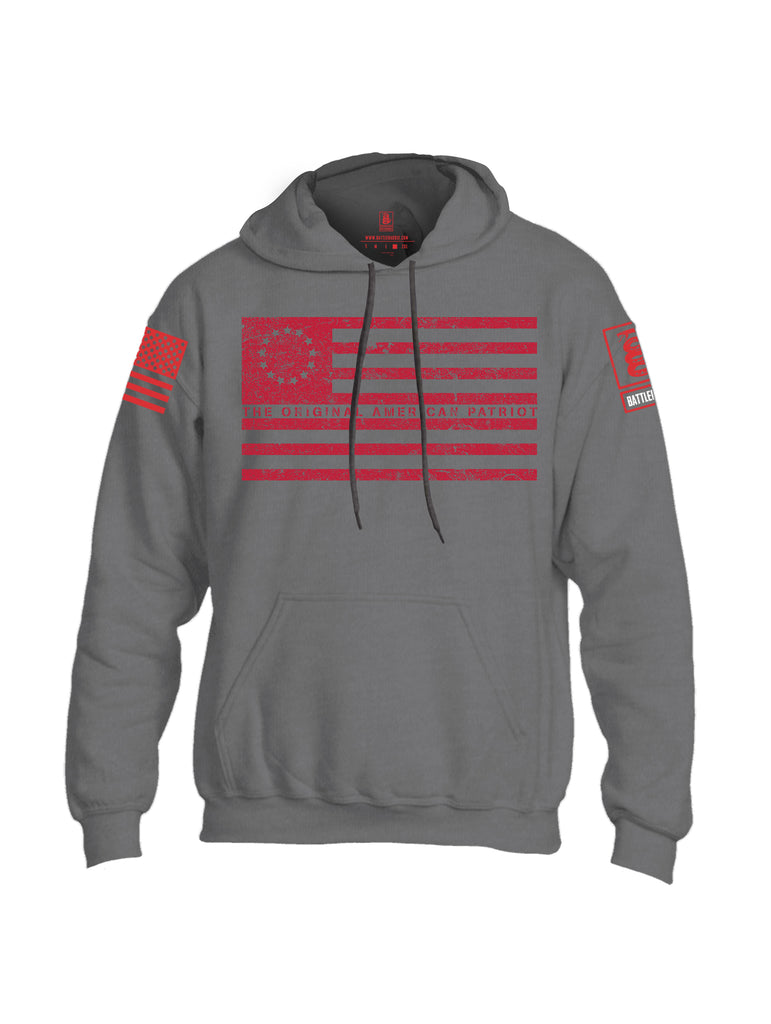 Battleraddle The Original American Patriot Flag Red Sleeve Print Mens Blended Hoodie With Pockets