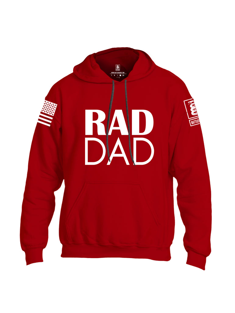 Battleraddle Rad Dad White Sleeve Print Mens Blended Hoodie With Pockets