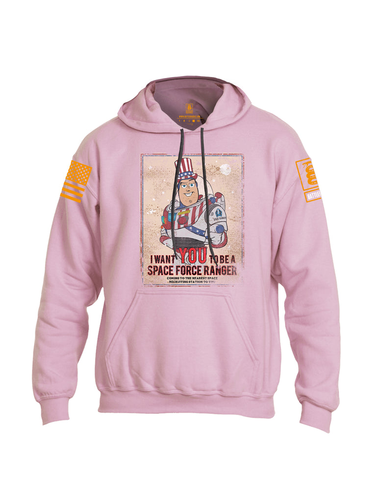 Battleraddle I Want You To Be A Space Force Ranger Orange Sleeve Print Mens Blended Hoodie With Pockets