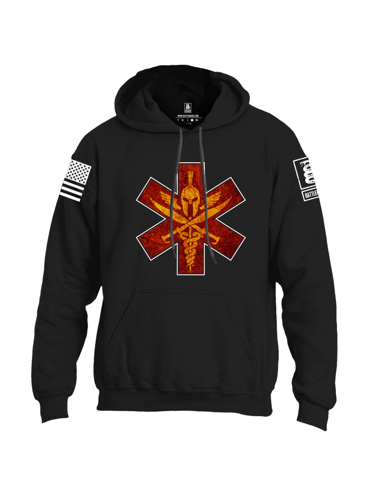 Battleraddle Spartan Cross White Sleeve Print Mens Blended Hoodie With Pockets