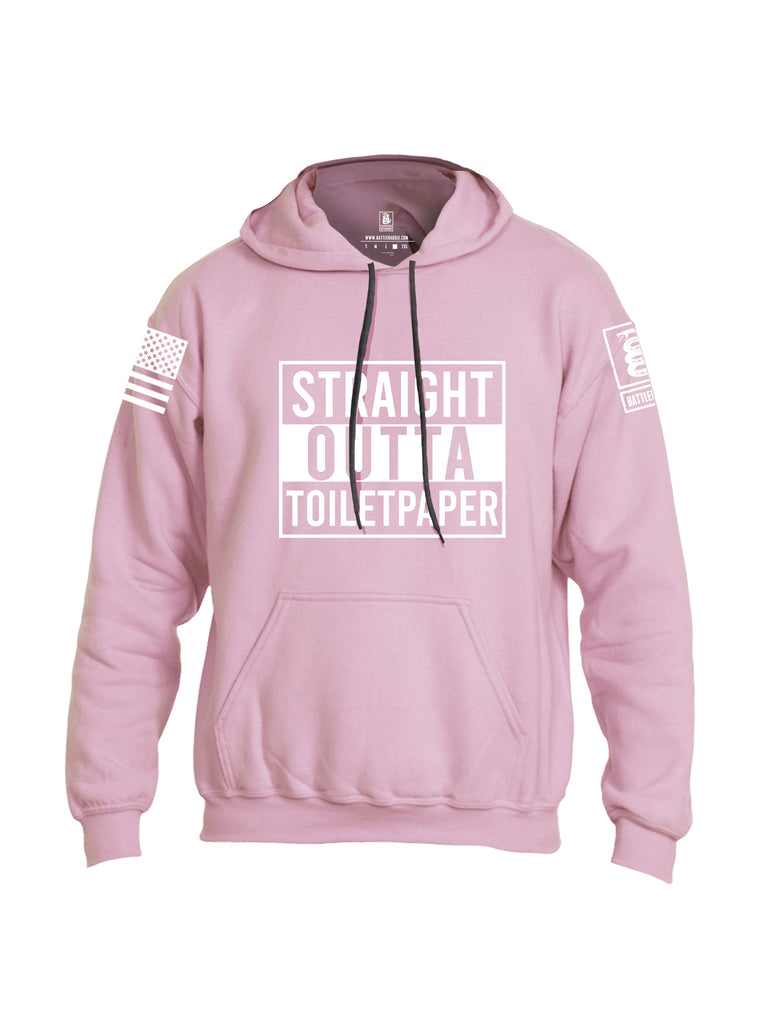 Battleraddle Straight Outta Toilet Paper White Sleeve Print Mens Blended Hoodie With Pockets