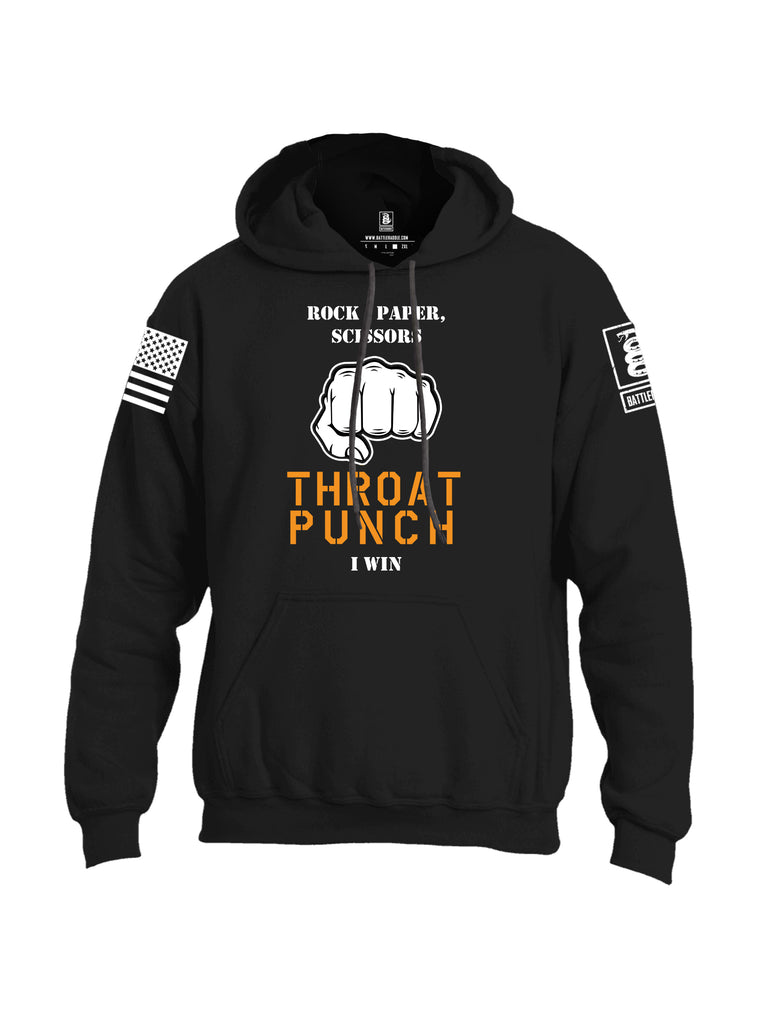 Battleraddle Rock Paper Scissors Throat Punch I Win White Sleeve Print Mens Blended Hoodie With Pockets