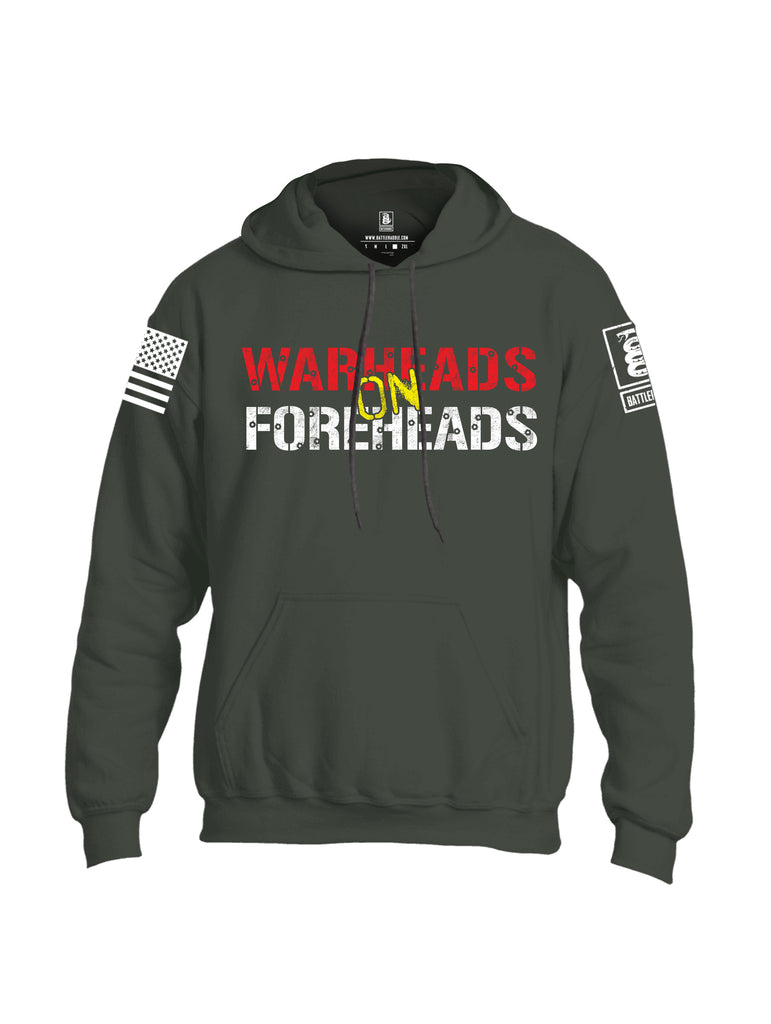 Battleraddle Warheads On Foreheads White Sleeve Print Mens Blended Hoodie With Pockets