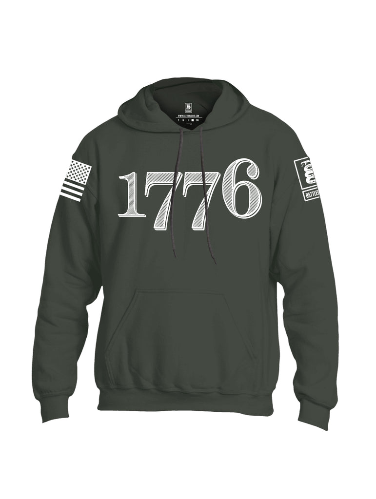 Battleraddle 1776 White Sleeve Print Mens Blended Hoodie With Pockets