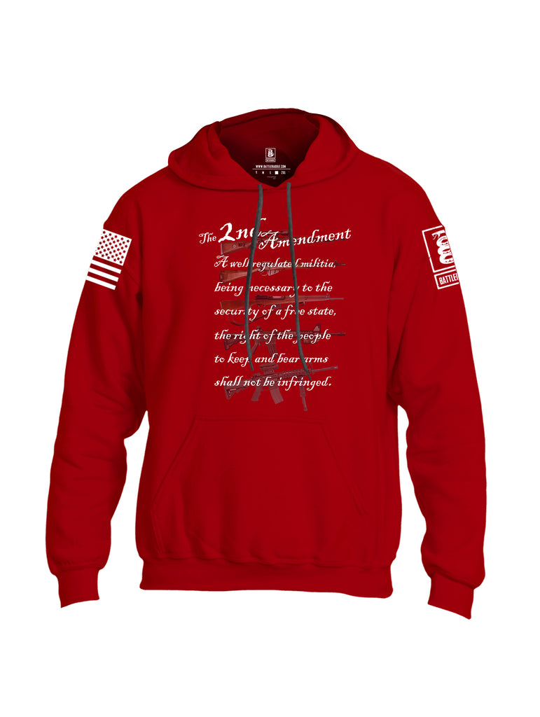 Battleraddle The 2nd Amendment Gun Evolution White Sleeve Print Mens Blended Hoodie With Pockets