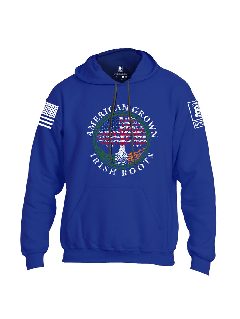 Battleraddle American Grown Irish Roots White Sleeve Print Mens Blended Hoodie With Pockets
