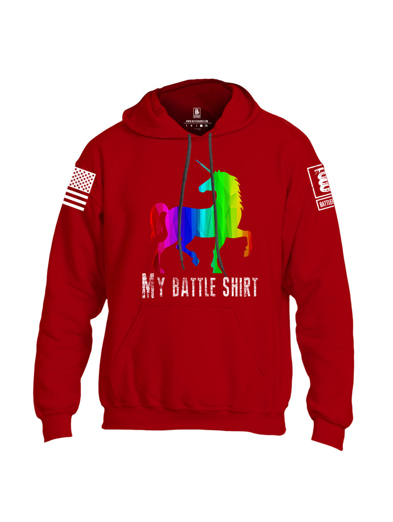 Battleraddle My Battle Shirt White Sleeve Print Mens Blended Hoodie With Pockets