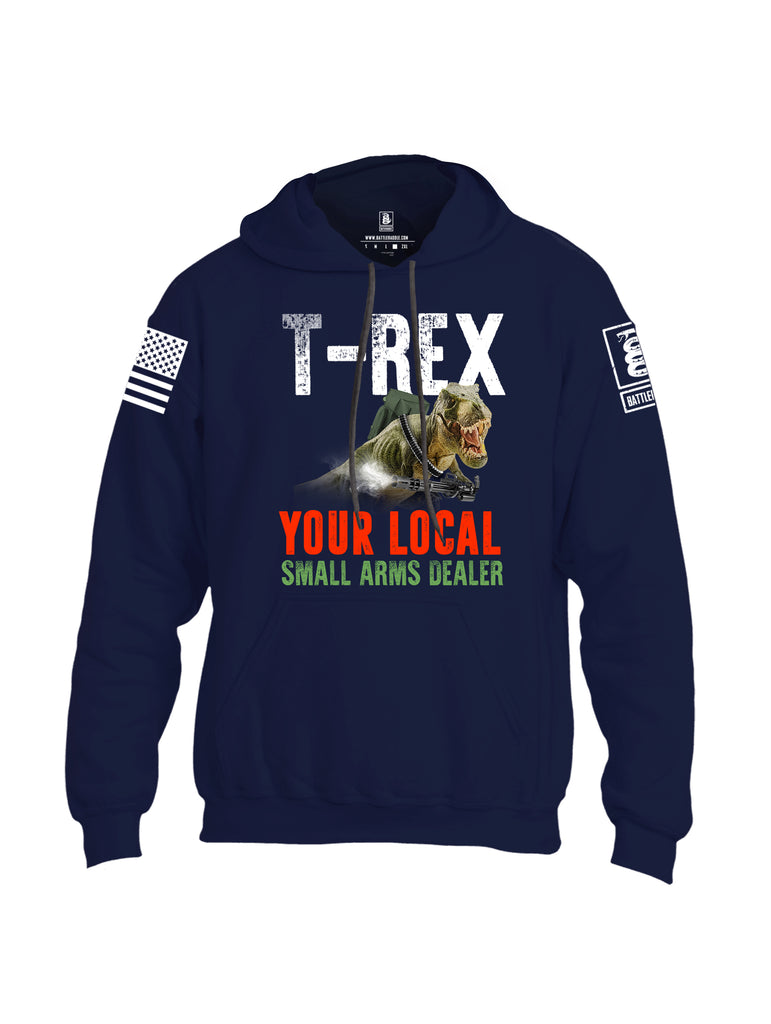Battleraddle T-Rex Your Local Small Arms Dealer White Sleeve Print Mens Blended Hoodie With Pockets