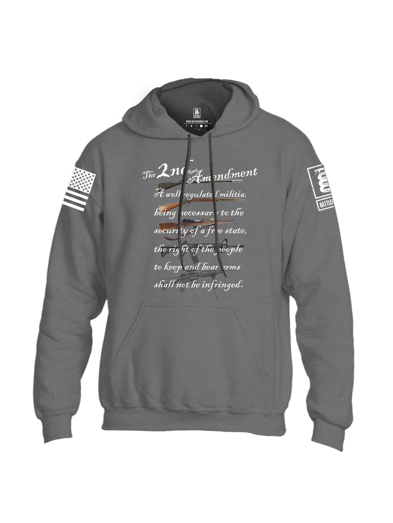 Battleraddle The 2nd Amendment Gun Evolution Flag White Sleeve Print Mens Blended Hoodie With Pockets