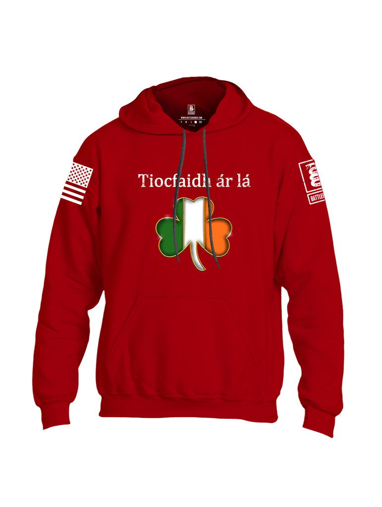 Battleraddle Tiocfaidh ar la Irish Flag Clover White Sleeve Print Mens Blended Hoodie With Pockets