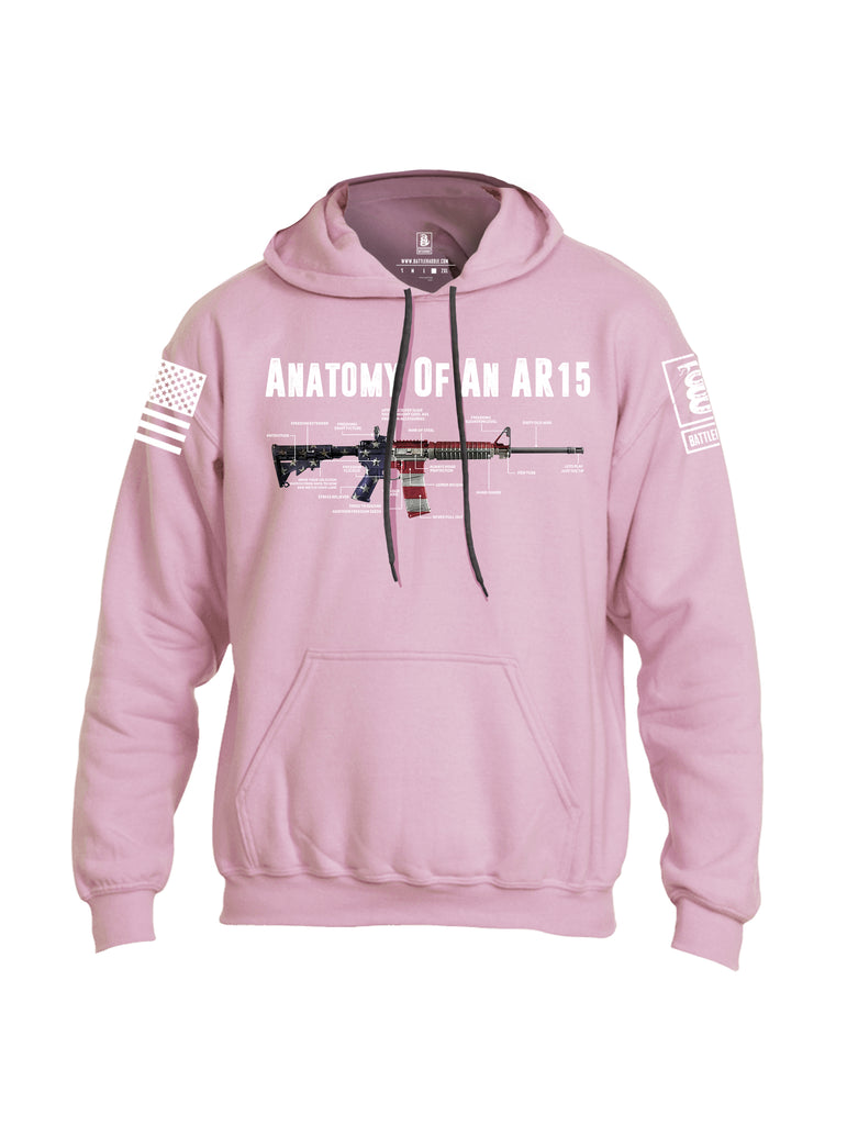 Battleraddle Anatomy Of An AR15 White Sleeve Print Mens Blended Hoodie With Pockets