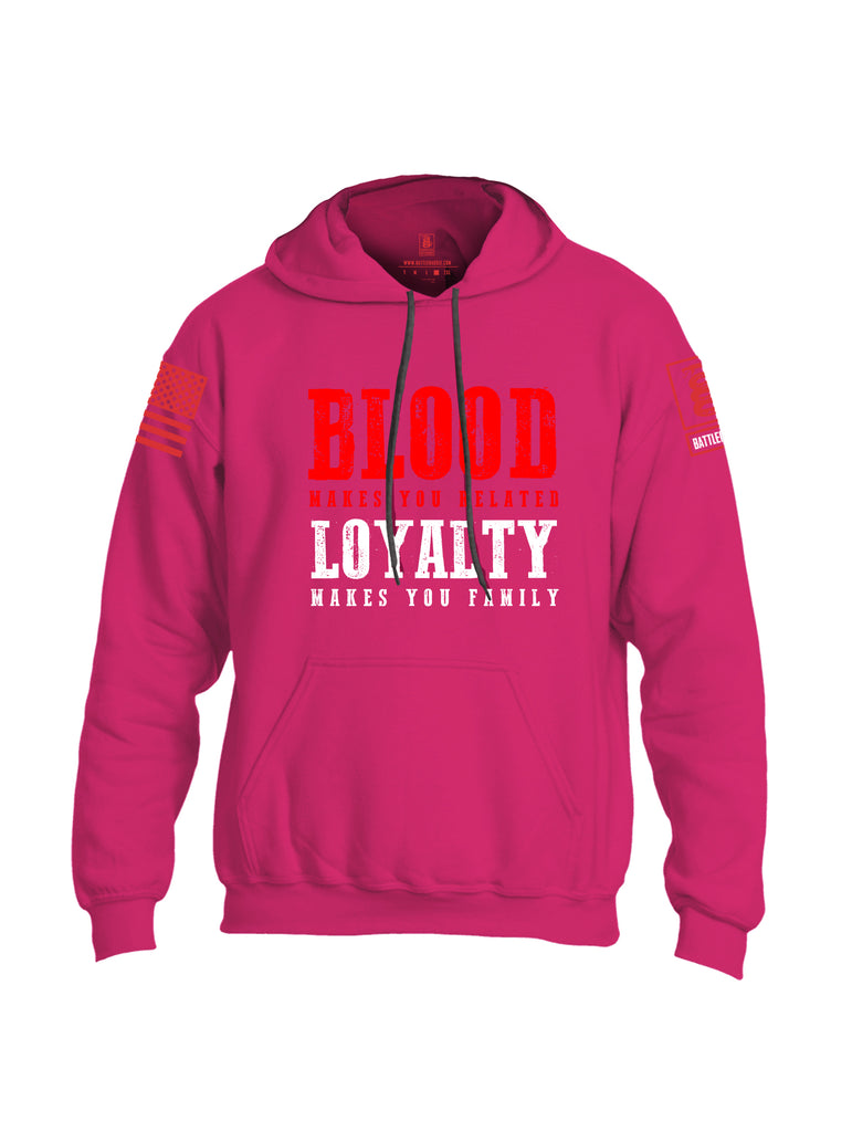 Battleraddle Blood Makes You Related Loyalty Makes You Family Red Sleeve Print Mens Blended Hoodie With Pockets