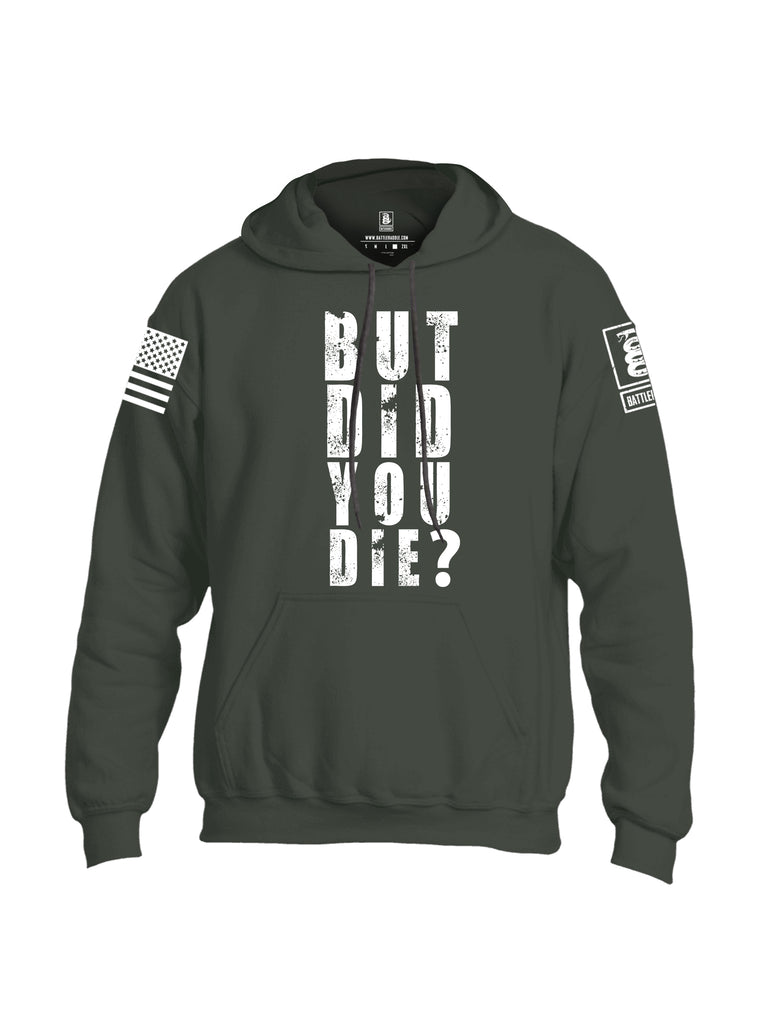 Battleraddle But Did You Die White Sleeve Print Mens Blended Hoodie With Pockets