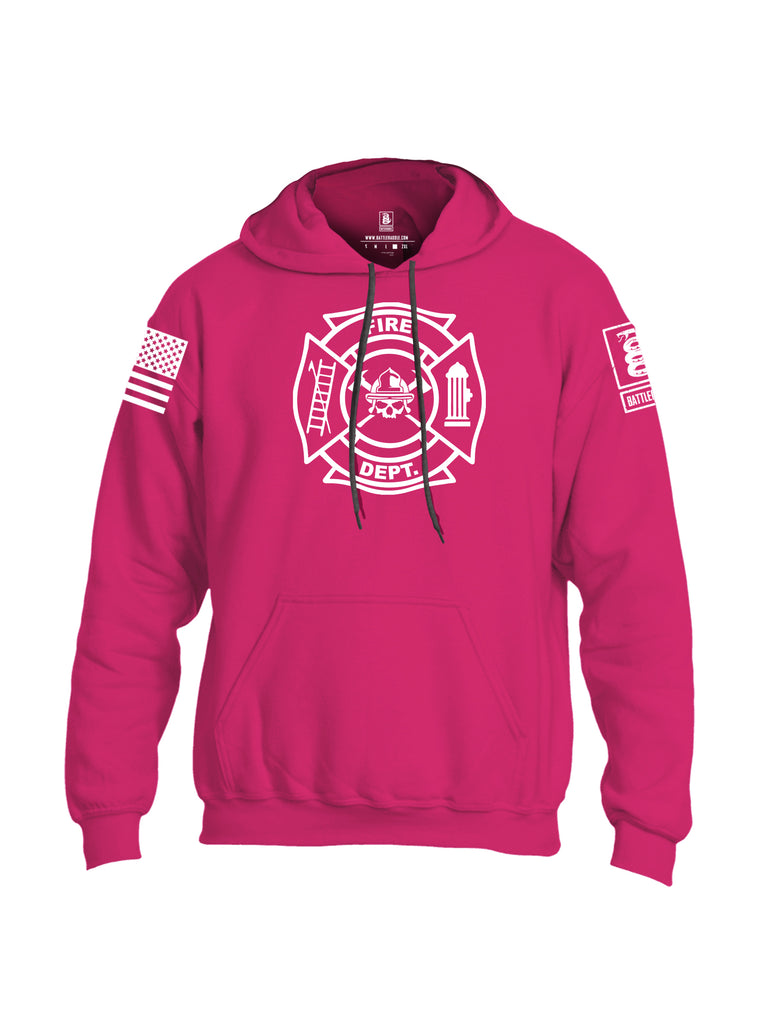 Battleraddle Fire Department White Sleeve Print Mens Blended Hoodie With Pockets