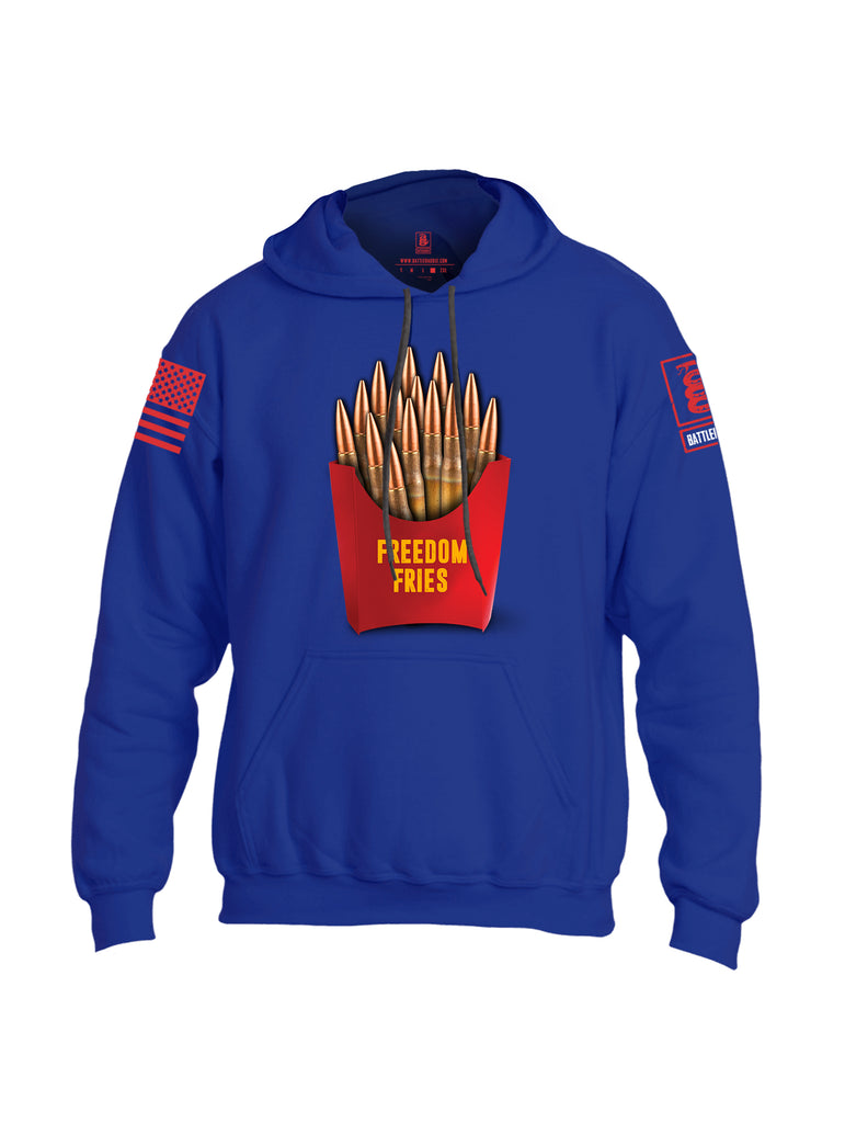 Battleraddle Freedom Fries Red Sleeve Print Mens Blended Hoodie With Pockets