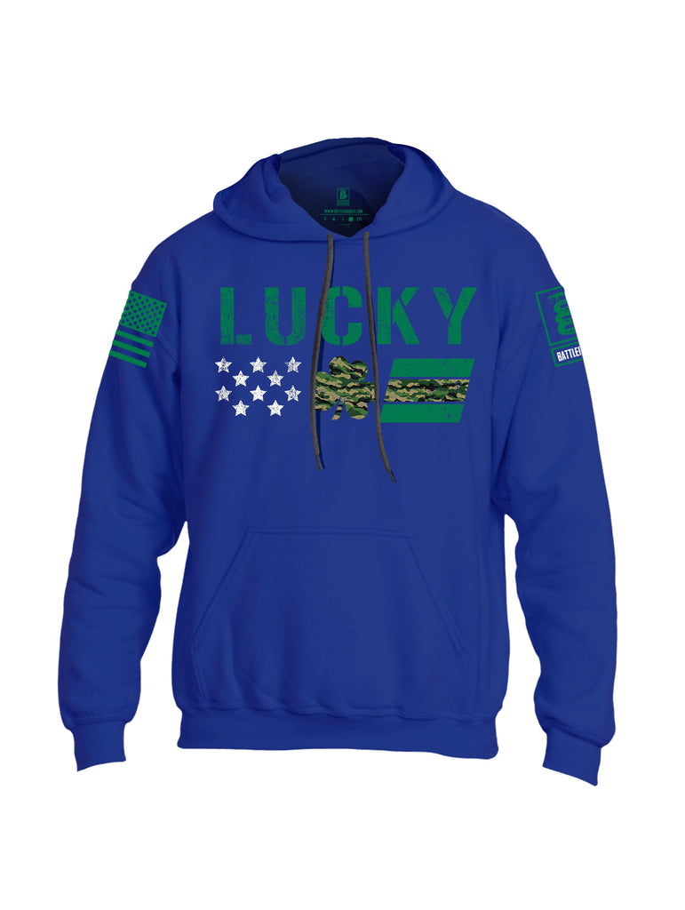 Battleraddle Lucky Leaf Green Sleeve Print Mens Blended Hoodie With Pockets