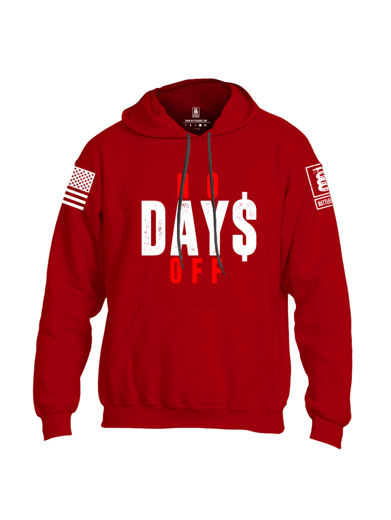Battleraddle No Days Off White Sleeve Print Mens Blended Hoodie With Pockets