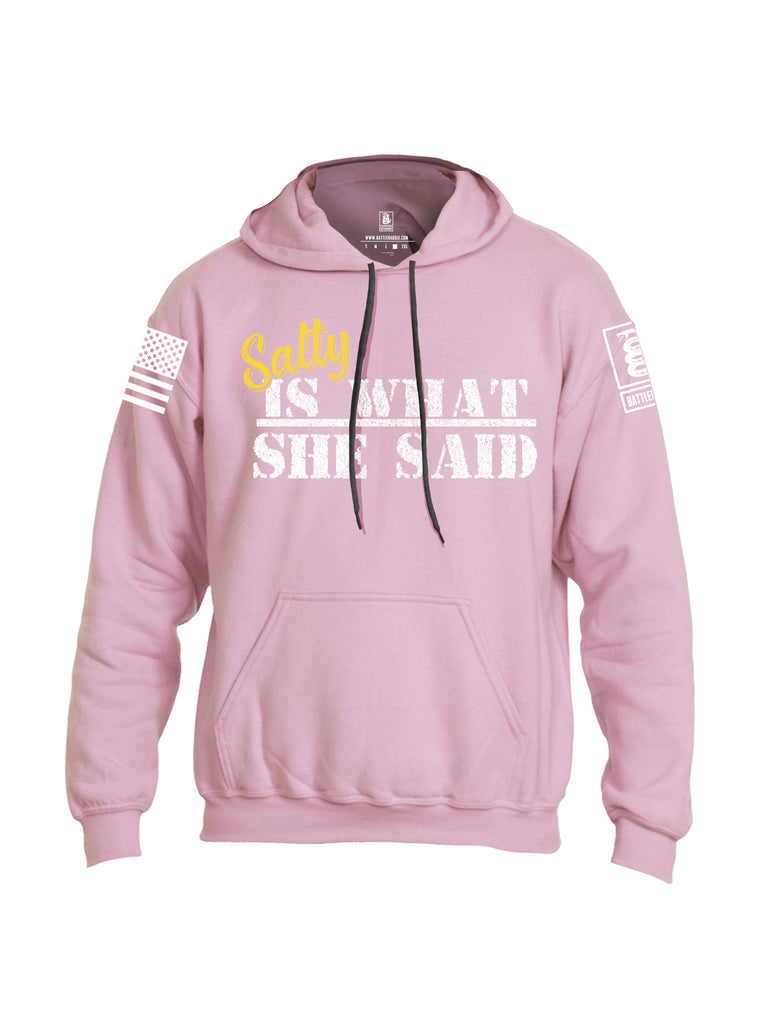 Battleraddle Salty Is What She Said White Sleeve Print Mens Blended Hoodie With Pockets