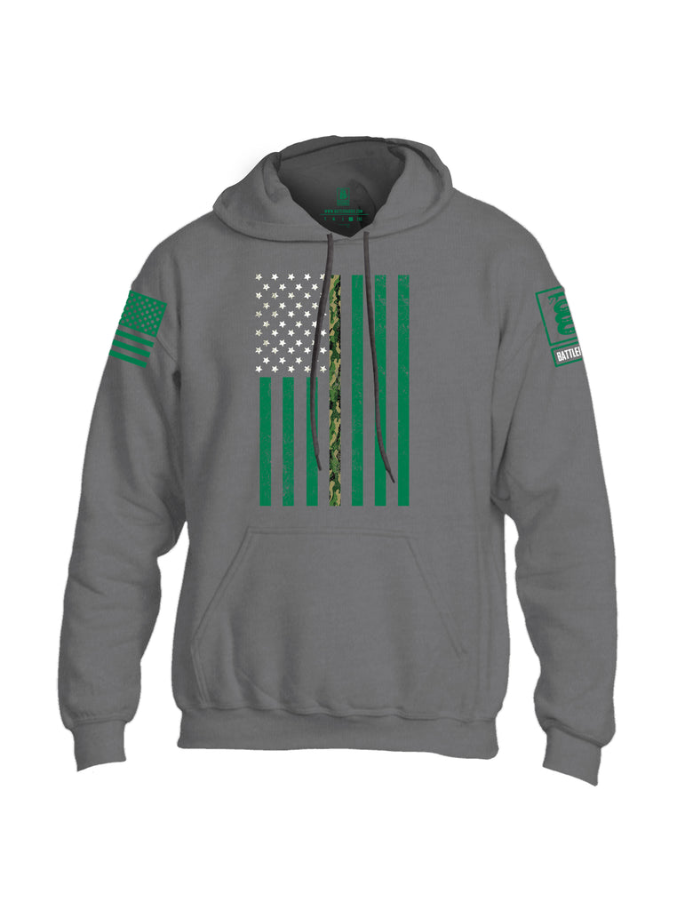 Battleraddle Patricks Camo Flag Green Sleeve Print Mens Blended Hoodie With Pockets