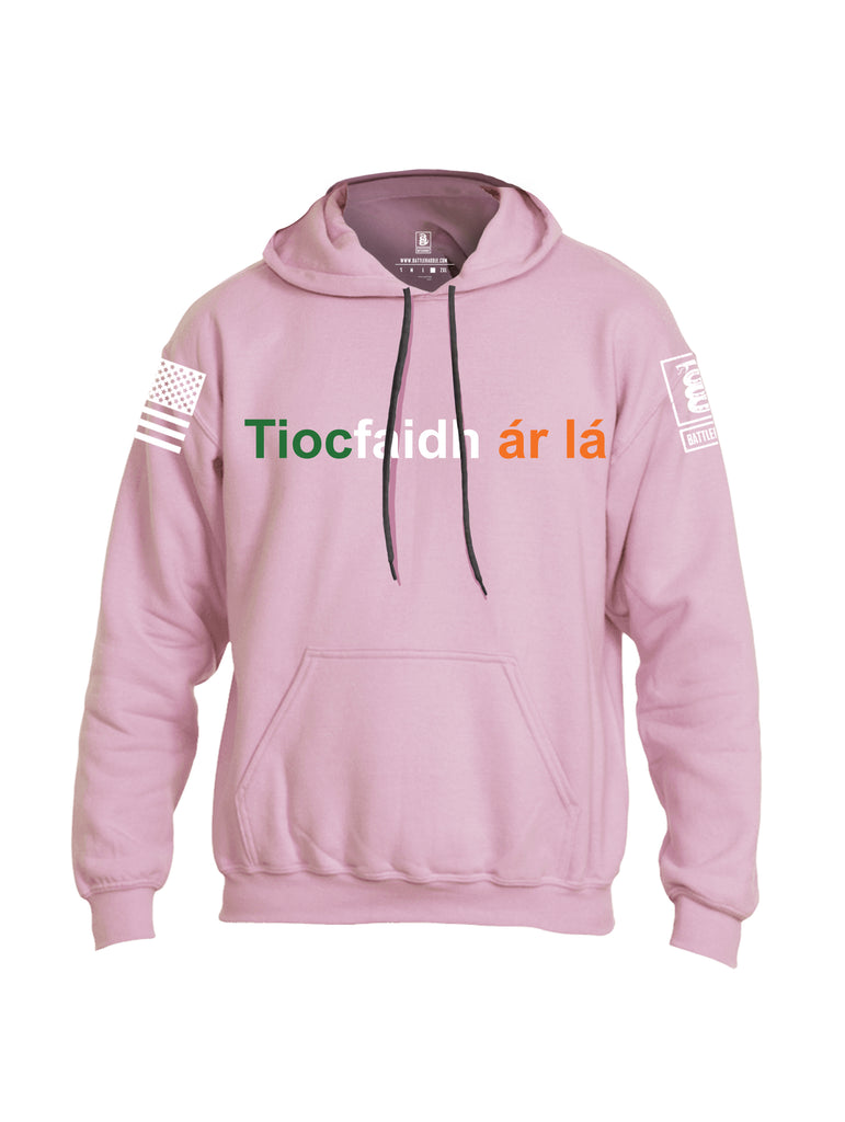 Battleraddle Tiocfaidh ar la with Irish Flag Green White Orange Letters White Sleeve Print Mens Blended Hoodie With Pockets