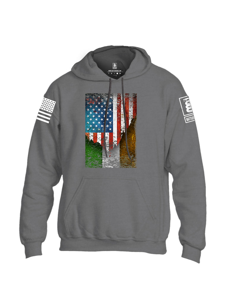 Battleraddle American Irish Flag White Sleeve Print Mens Blended Hoodie With Pockets