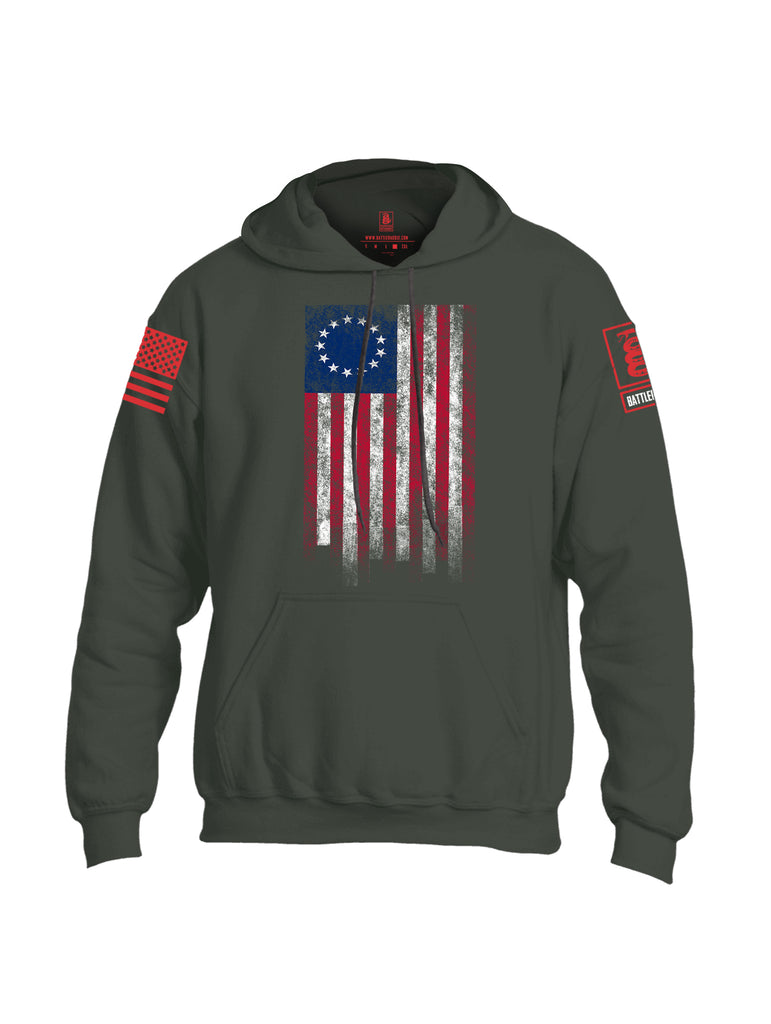 Battleraddle Thirteen Colonies Flag Red Sleeve Print Mens Blended Hoodie With Pockets