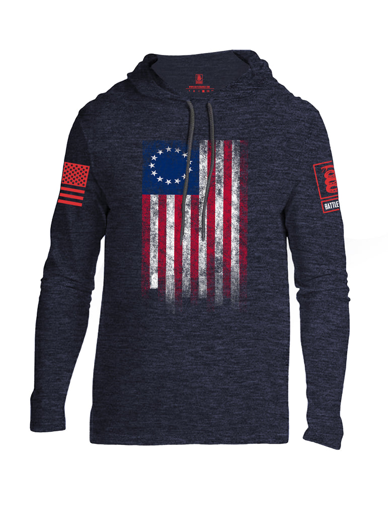 Battleraddle Thirteen Colonies Flag Red Sleeve Print Mens Thin Cotton Lightweight Hoodie