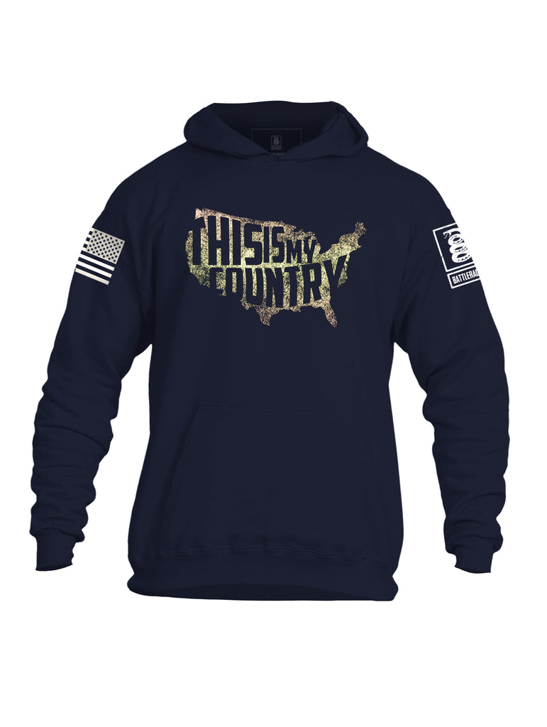 Battleraddle This is My Country Mens Cotton Pullover Hoodie With Pockets