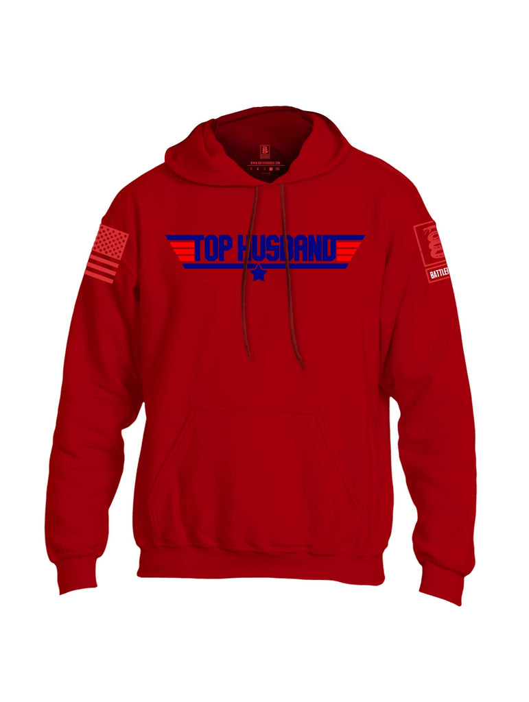 Battleraddle Top Husband Red Sleeve Print Mens Blended Hoodie With Pockets
