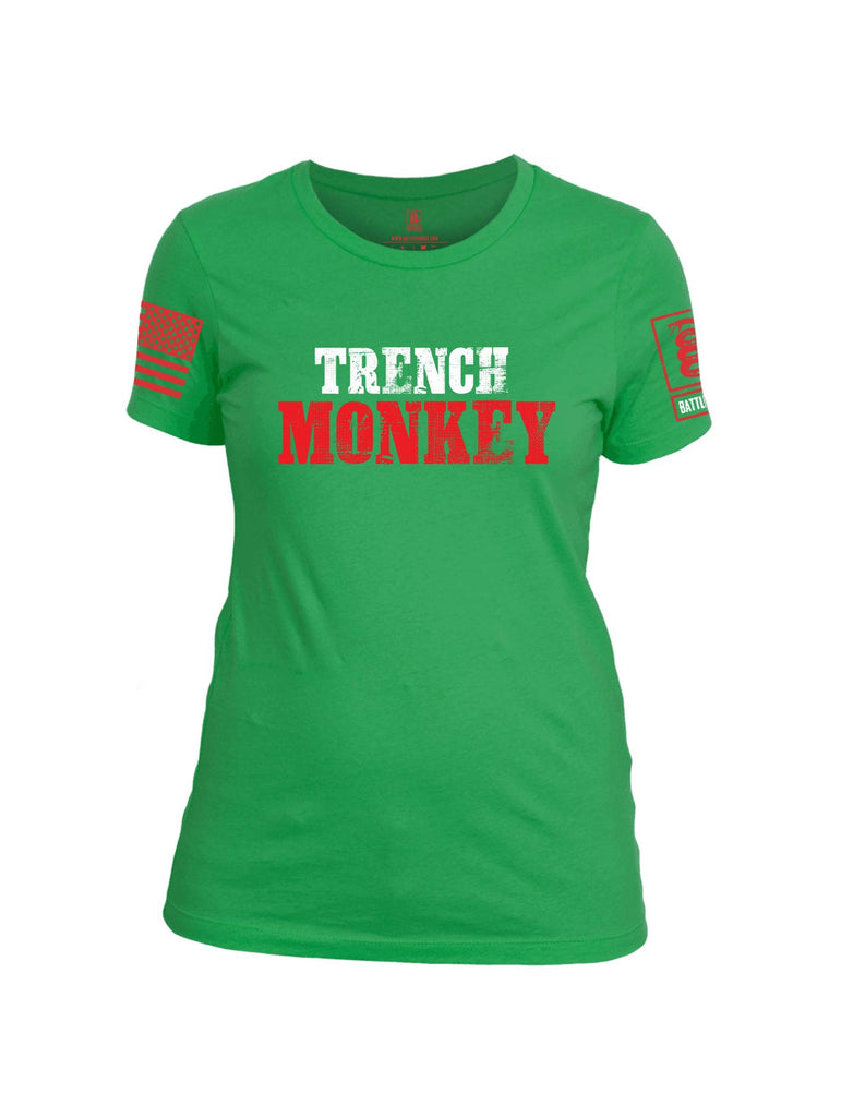 Battleraddle Trench Monkey Red Sleeve Print Womens Cotton Crew Neck T Shirt