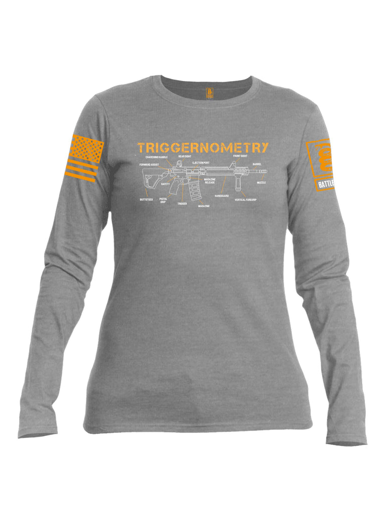 Battleraddle Triggernometry Orange Sleeve Print Womens Cotton Long Sleeve Crew Neck T Shirt