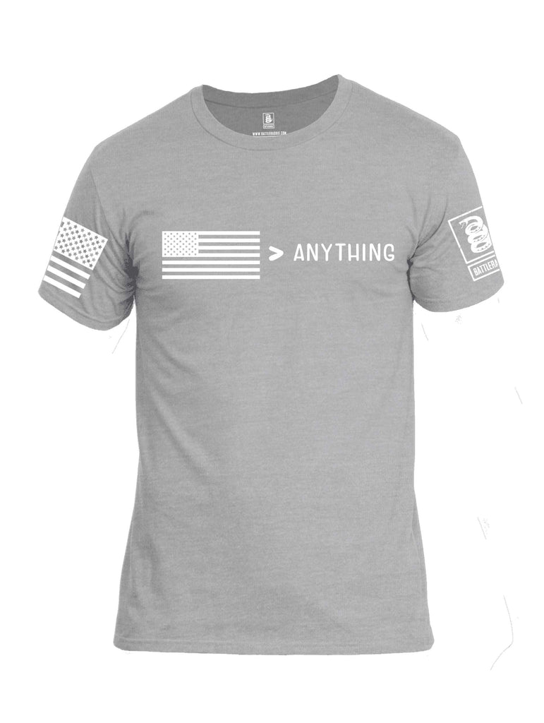 Battleraddle USA Greater Than Anything At All White Sleeve Print Mens Cotton Crew Neck T Shirt