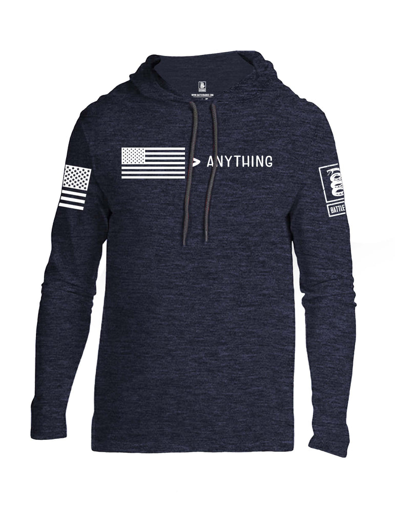 Battleraddle USA Greater Than Anything At All White Sleeve Print Mens Thin Cotton Lightweight Hoodie