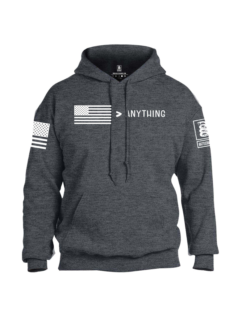 Battleraddle USA Greater Than Anything At All White Sleeve Print Mens Blended Hoodie With Pockets