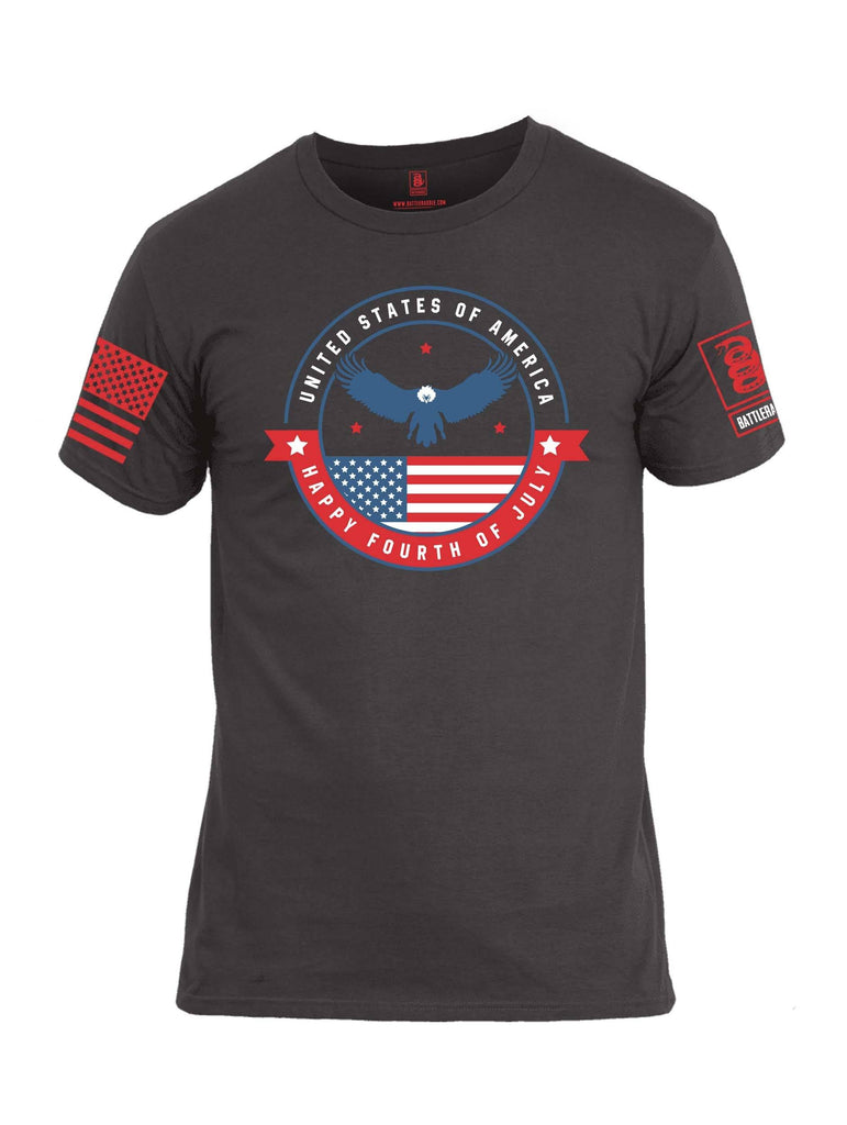 Battleraddle USA Happy Fourth Of July Red Sleeve Print Mens Cotton Crew Neck T Shirt shirt|custom|veterans|Apparel-Mens T Shirt-cotton