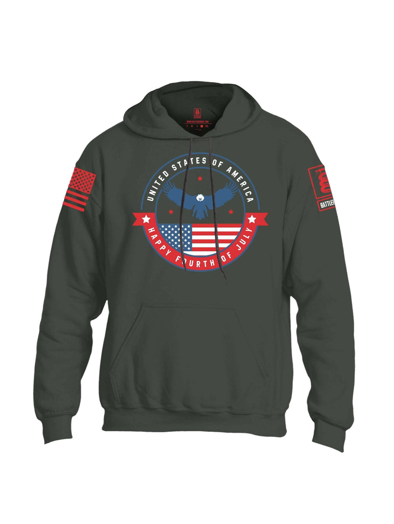 Battleraddle USA Happy Fourth Of July Red Sleeve Print Mens Blended Hoodie With Pockets shirt|custom|veterans|Apparel-Mens Hoodies-Cotton/Dryfit Blend