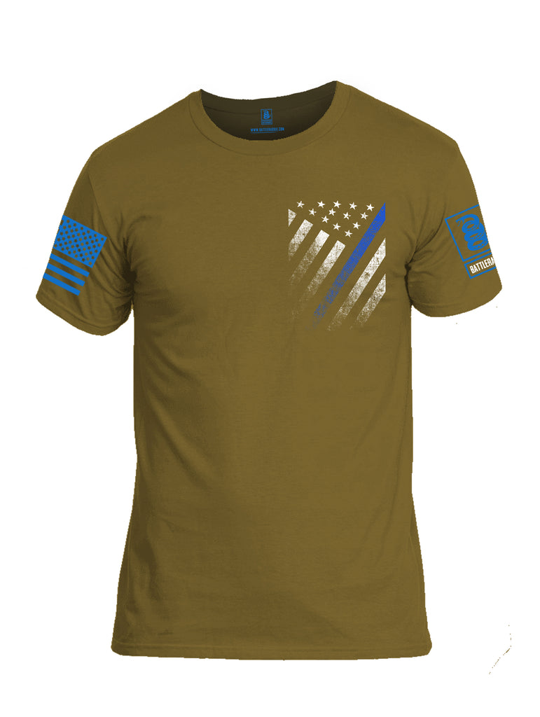 Battleraddle USA Blue Thin Line Series Flag Blue Sleeve Print Mens Cotton Crew Neck T Shirt