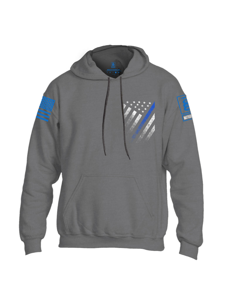 Battleraddle USA Blue Thin Line Series Flag Blue Sleeve Print Mens Blended Hoodie With Pockets