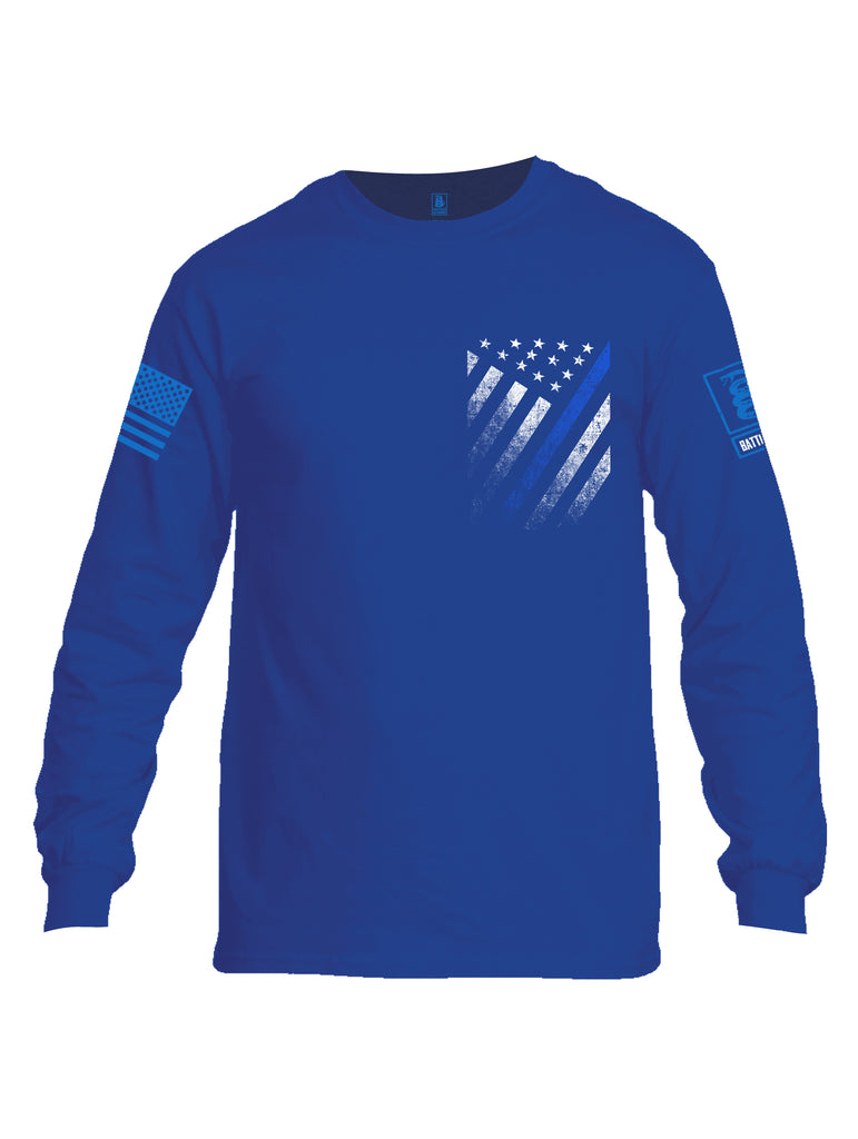 Battleraddle USA Blue Thin Line Series Flag Blue Sleeve Print Mens Cotton Long Sleeve Crew Neck T Shirt