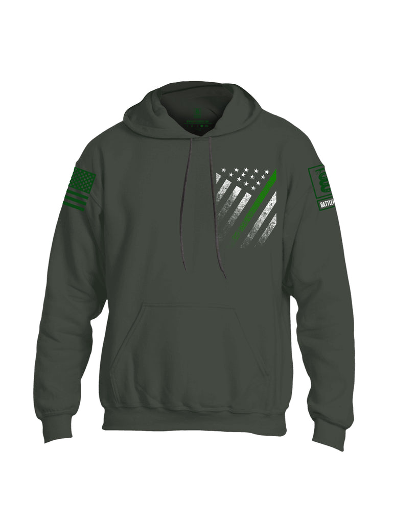 Battleraddle USA Green Thin Line Series Flag Green Sleeve Print Mens Blended Hoodie With Pockets